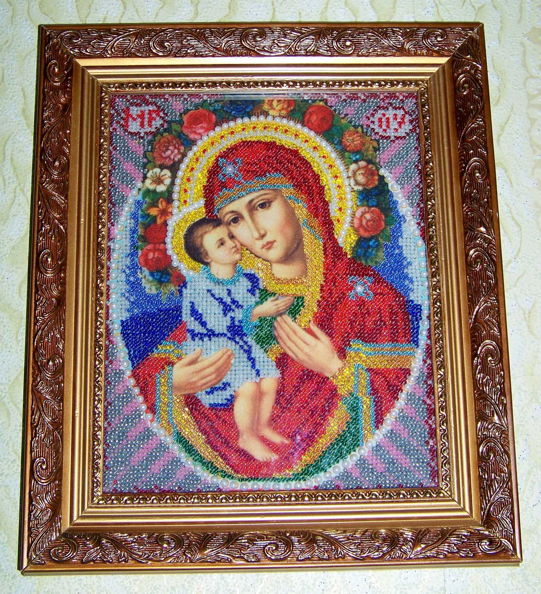Икона бисером Божией Матери Жировицкая